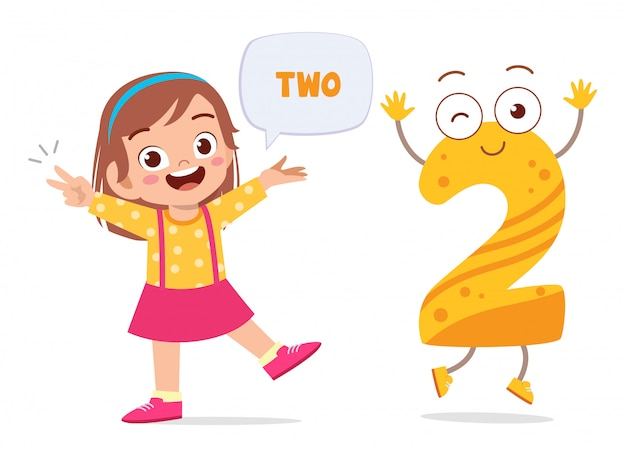 Happy cute little kid study number character