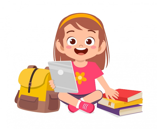 Happy cute little kid study using tablet