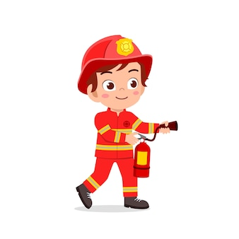 Happy cute little kid wearing firefighter uniform and holding fire extinguisher