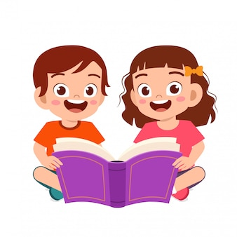Happy cute little kids boy and girl read book