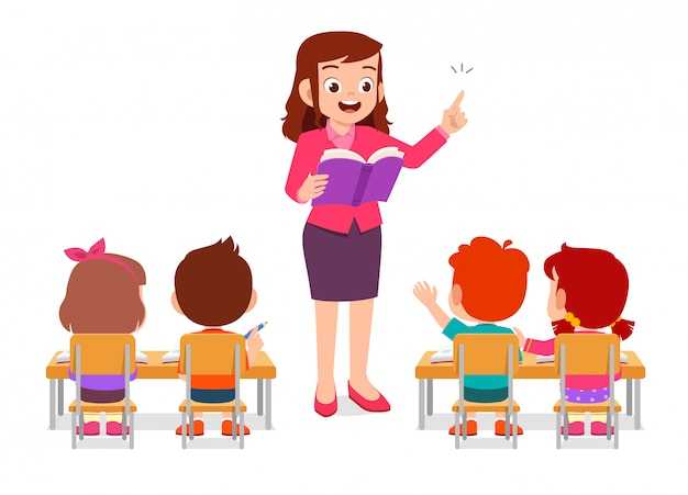 Happy cute little kids boy and girl study with teacher