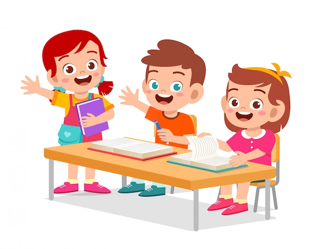 Happy cute little kids boy and girl study
