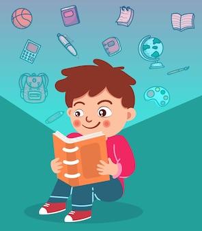 행복한 귀여운 작은 아이들이 책을 읽습니다.