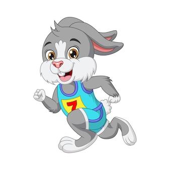 행복 한 귀여운 작은 주자 토끼 만화