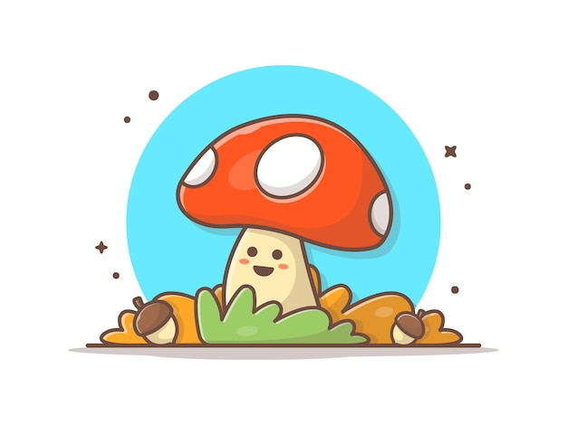 Happy cute mushroom with acorns