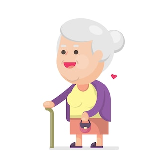 Happy cute old woman with bag