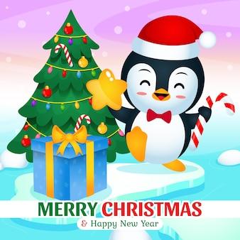 빙산에서 크리스마스와 새해를 축하하는 행복한 귀여운 펭귄