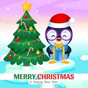 빙산에 선물 상자 크리스마스와 새 해를 들고 행복 한 귀여운 펭귄