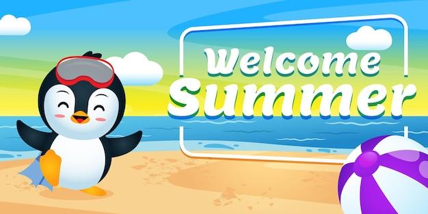행복 한 귀여운 펭귄 여름 인사말 배너와 함께 다이빙을 준비