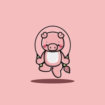 행복한 귀여운 돼지 놀이 줄넘기