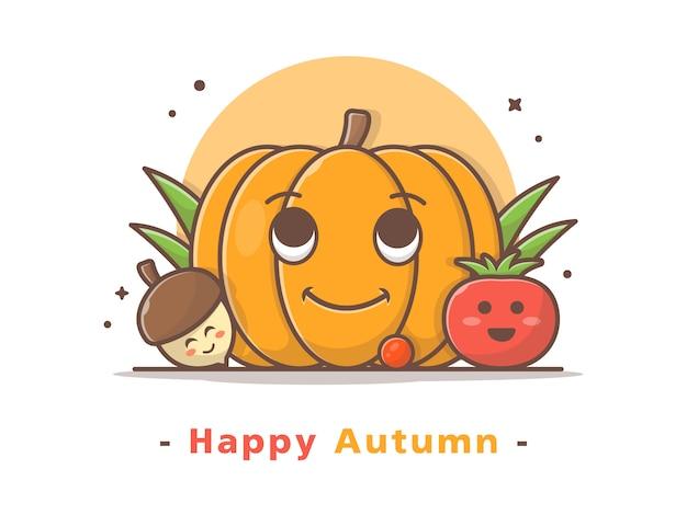 Happy cute pumpkin with cute acorn and tomato vector illustration