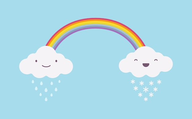 Happy cute rainy and snowy white clouds with a rainbow
