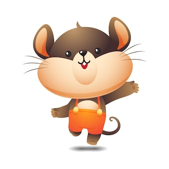 Happy cute rat character in jump pose