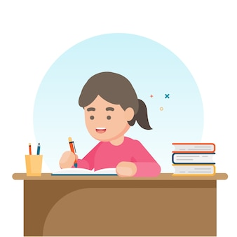 Happy cute school girl writing for homework