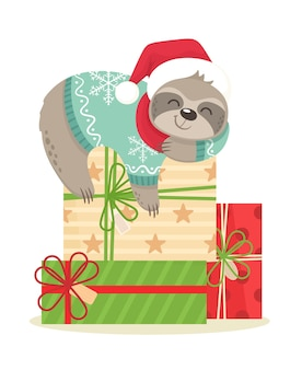 Happy and cute sloth sleeping on gifts in a scarf and santa hat.