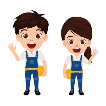 孤立した陽気な表情で建設労働者の衣装を着て幸せなかわいいスマートな子供男の子と女の子のキャラクター