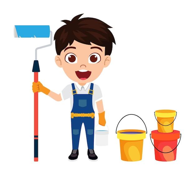 Счастливый милый умный ребенок-художник мальчик персонаж, стоящий с рулоном краски и изолированным ведром цвета