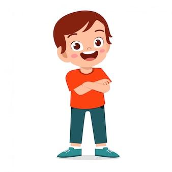 Happy cute smile kid boy crossed arms