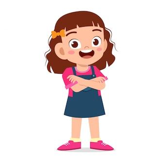 Happy cute smile kid girl crossed arms