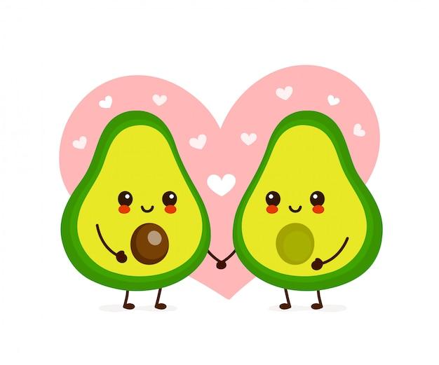 Happy cute smiling avocado couple in love