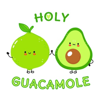 Happy cute smiling avocado and lime