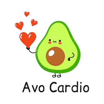 Happy cute smiling avocado with heart