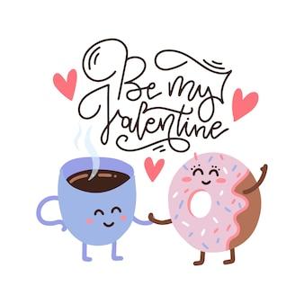 Счастливый милый улыбающийся пончик и кофейный бумажный стаканчик.