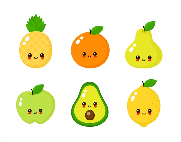Happy cute smiling fruit faces set