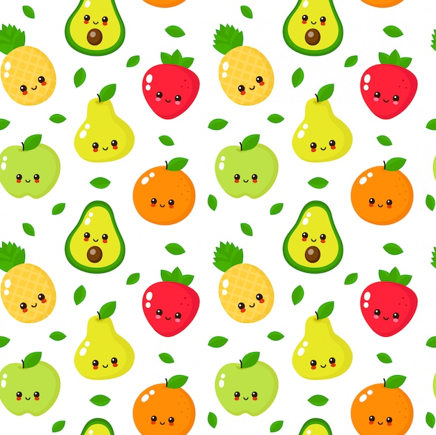 Happy cute smiling fruits seamless pattern