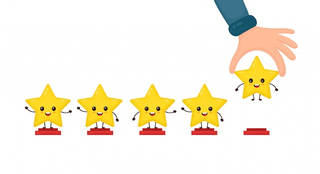 Happy cute smiling funny 5 stars and hand.  flat cartoon character illustration icon .isolated on white . cute kawaii character, five stars customer product rating review