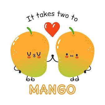 愛の幸せなかわいい笑顔のマンゴーカップル