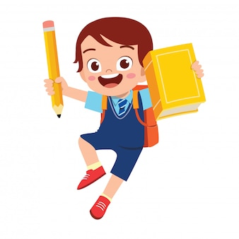 Happy cute student kid boy with book and pencil