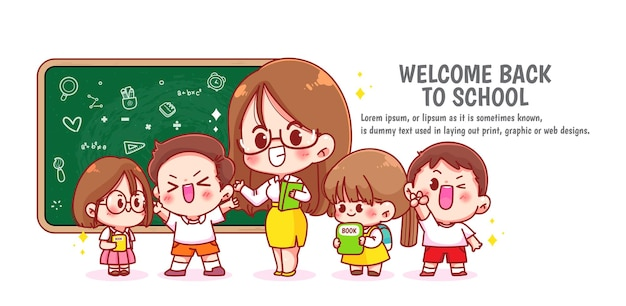 Happy cute teacher and students banner