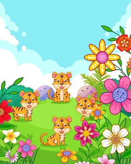 Happy cute tigers with flowers playing in the garden