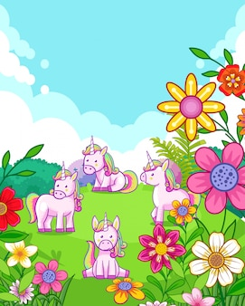 Happy cute unicorns with flowers playing in the garden
