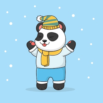 Happy cute winter panda wearing a hat and scarf