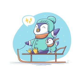 행복 한 귀여운 겨울 펭귄 캐릭터 타고 눈 썰매 스티커 그림