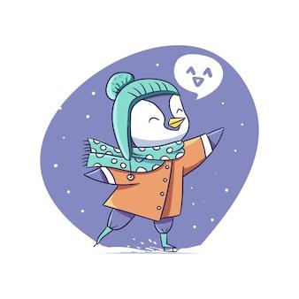 幸せなかわいい冬のペンギンがアイススケートのキャラクターステッカーイラストを再生します