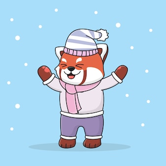 Happy cute winter red panda wearing a hat and scarf