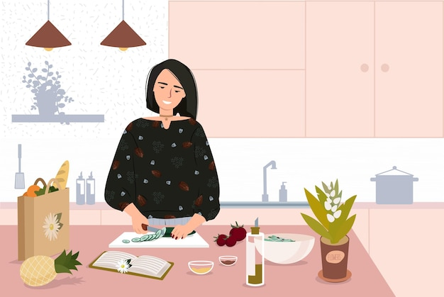 Happy cute woman cooking at kitchen table vector flat lifestyle illustration kitchen interior