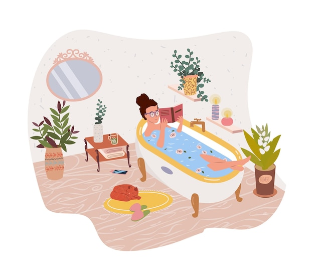 Happy cute woman girl lying in bathtub and reading book flat vector illustration female cartoon character taking bath and relaxing relaxation spa meditation relax recreation healthy lifestyle
