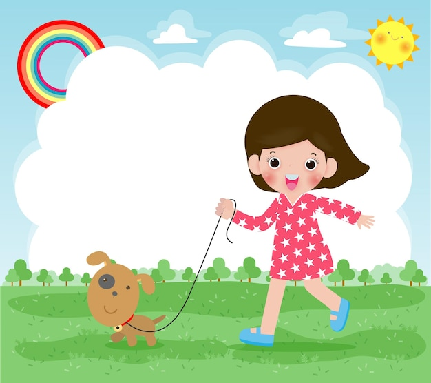 Happy cute young girl taking his dog for a walk outdoor in nature