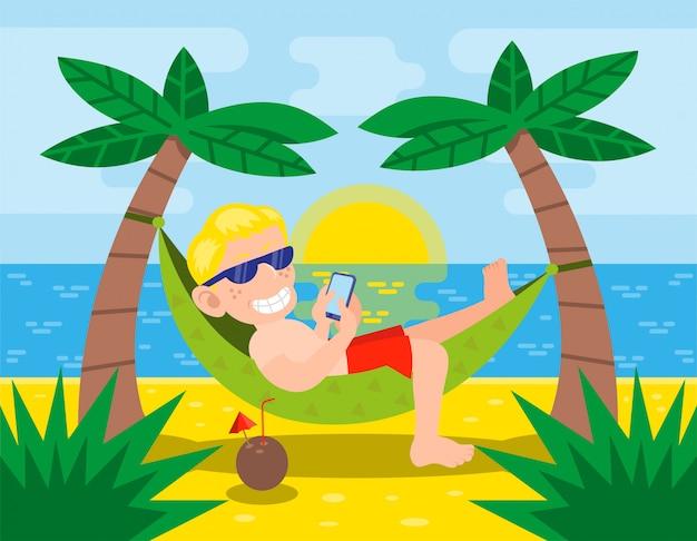 Счастливый милый молодой человек лежат в основе гамака смотреть телефон за пределами тропического острова возле океана. пальмы, коктейли, лето, жаркое солнце, закат, наслаждайся, расслабляйся, пляж, современный стиль, иллюстрации, мультипликационный персонаж
