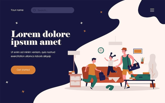 Счастливый папа и дети, собирающиеся в отпуск. рюкзаки, чемоданы, беспорядок дома плоские векторные иллюстрации. семейный отдых, концепция путешествия для баннера, дизайн веб-сайта или целевая веб-страница