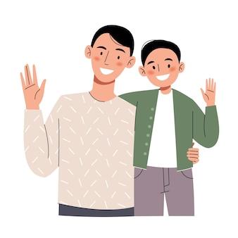 幸せなお父さんと息子が手を振っています。
