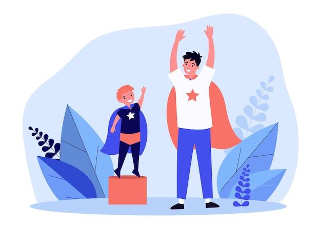 スーパーヒーローとして身に着けている幸せなお父さんと息子。ケープ、パワー、ゲームフラットイラスト。想像力と家族の概念