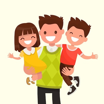 Happy dad holding his son and daughter illustration