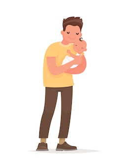 Happy dad holds baby in his arms. paternity. in flat style