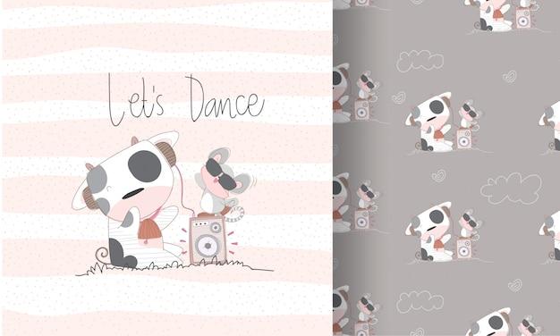 Happy dance baby animal cartoon seamless pattern