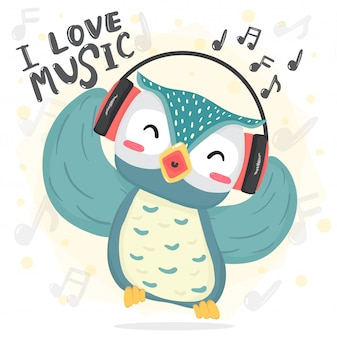 Happy dance blue owl listen music and sing song with headphone